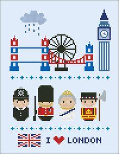 London icons - Mini people around the world - PDF cross stich pattern