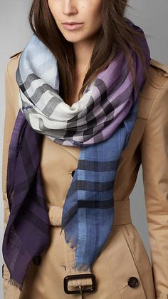 Lupin check Check Ombre Wool Silk Scarf - Image 2