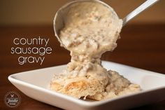 Country Sausage Gravy made from scratch is delicious! The best biscuits and gravy are made from homemade flaky buttermilk biscuits and sausage gravy.