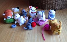 Last group pics of my entire Neko Atsume bunch before sending them off to their new homes. All cats designed and crocheted by me.
