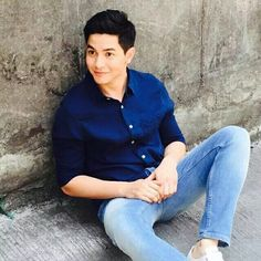 God gave you to us, Alden. Alden Richards, Boyfriend Goals, Pinoy, Dimples, Denim Button Up, Bae, Handsome, Singer, Actors