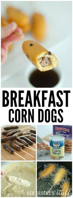 We LOVE these Breakfast Corn Dogs from SixSistersStuff.com