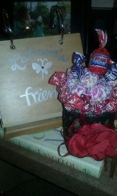 Lollipop bouquet and album for my friend.