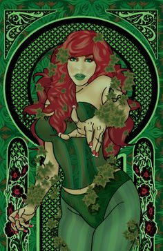Poison Ivy pin up portrait of Artist/Illustrator Megan Lara. By Me Check her out on facebook