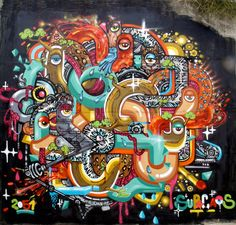 Beautiful Graffiti Street Art Style of Supocaos from France