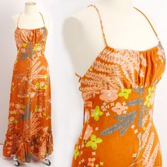 Vintage 1970s Orange Luau PARADISE Halter by VeriteVintage on Etsy, $84.00