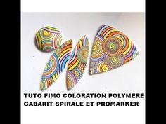 tuto fimo coloration Promarker sur pochoir Spirale Graine Créative - YouTube