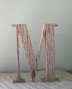 Wooden Letter M, made from salvaged reclaimed barn wood