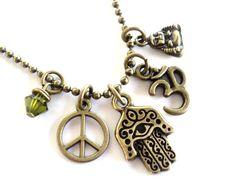 Hamsa Necklace Evil Eye Yoga Jewelry Peace by BohemianEarthDesigns, $24.95