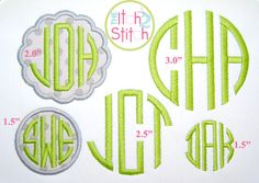machine embroidery circle monogram font   Center letter for all uppercase letters A-Z. You MUST have embroidery ...