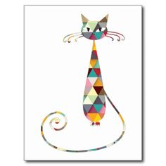COLORFUL  CAT POST CARD
