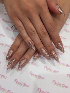 Pastel Nail Lounge - Glendora, CA, United States. Stiletto nails with rose gold rockstar gel nails