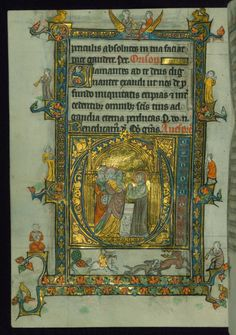 "Book of Hours, Initial ""D"" with the Presentation in the Temple; musicians, hybrids, and stag hunt in margins, Walters Manuscript W.104, fol. 39v by Walters Art Museum Illuminated Manuscripts http://flic.kr/p/zak1hU"