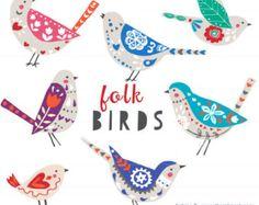 CLIP ART - Folk aves - para uso comercial y personal