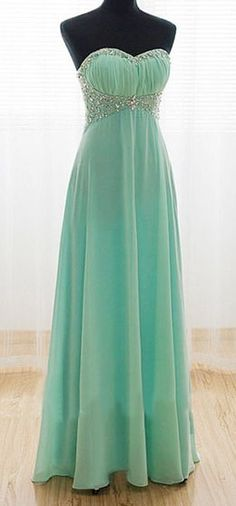 Long mint green prom dress