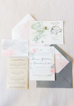 Soft watercolor wedding #stationery Photography: Twah Dougherty | Style Art Life - www.styleartlife.com  Read More: http://www.stylemepretty.com/2014/05/06/garden-glam-hudson-valley-wedding/