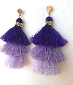 Purple Tassel Earrings, Ombre Tassel $ 23.47 *QJBoutique*