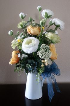 Artificial Flower Arrangement, Faux Flowers, Floral Arrangement, Centerpiece, Silk Flowers, Pitcher, Home Decor, Table Decor, Rustic, Roses - pinned by pin4etsy.com