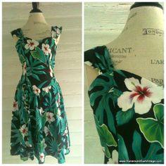 Vintage Hawaiian Dress  80s does 50s TIKI Rockabilly Dress by runaroundsuevintage, $34.00