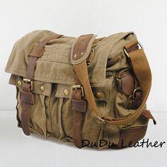 Sac en cuir véritable de vache supérieure masculine / canvas sac / serviette de toile de cuir - Cuir toile Messager - cuir Satchel - sac d'ordinateur portable