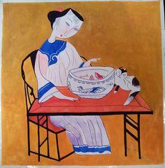 Boring Woman Saw Fish   Erotic Village Folk Art by treebread, $9.99