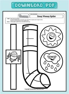Eensy Weensy Spider craft colouring                                                                                                                                                                                 Plus