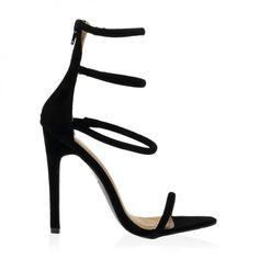 Nikki Strappy Stilettos in Black Faux Suede ($46) ❤ liked on Polyvore featuring shoes, heels, sandals, black shoes, strappy pumps, black stilettos, black ankle strap pumps and high heel shoes