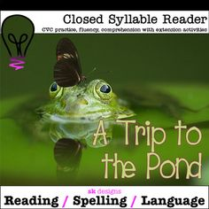Closed Syllable CVC Reader w Extension Activities for class & distance learning Writing Resources, School Resources, Teaching Resources, Teaching Ideas, Fourth Grade, Third Grade, Thing 1, Pond Ideas, Syllable