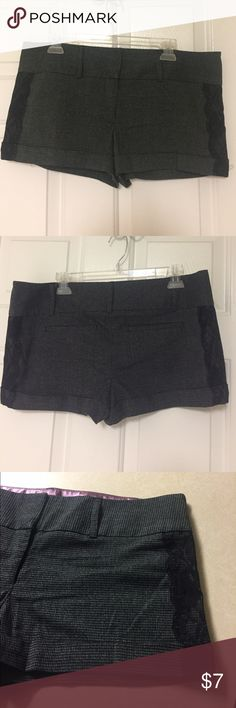 Charlotte Russe 14 Dress Lace Shorts Gently used pair of Charlotte Russe shorts. Size: 14. Lace down the sides. They have some stretch to them. 64% polyester, 34% rayon, and 2% spandex. Waist: 36. Length: 11. Charlotte Russe Shorts