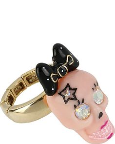 PINK SKULL STRETCH RING PINK accessories jewelry rings fashion