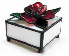 Stained Glass Boxes / Red Flower Box