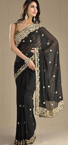 Black and gold Saree #saree #sari #blouse #indian #outfit  #shaadi #bridal #fashion #style #desi #designer #wedding #gorgeous #beautiful
