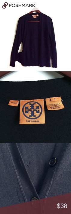 Tory Burch Cardigan Tory Burch Wool Cardigan  ▫️Color: Blue ▫️Material: 100% Wool ▫️Fit: True to Size ▫️Button Down Cardigan  ▫️Perfect for Work or a Night Out ▫️Has many Snags (see pictures) ▫️Overall in Good Preowned Condition                       🚫No Trades🚫 Tory Burch Sweaters Cardigans