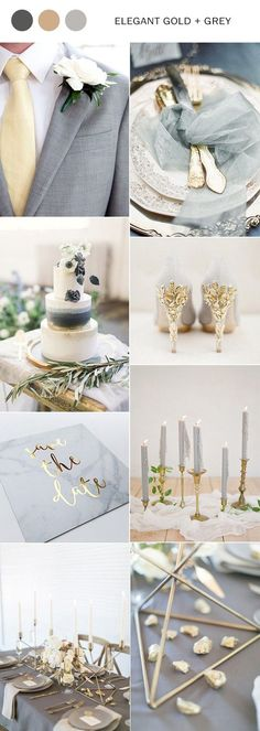 I really like gray and gold as possible colors for the big day, but I might want pops of some other colors mixed in. #weddingdecoration