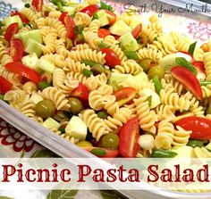 Picnic Pasta Salad by South Your Mouth..the only thing I would do different is swap the green olives for black..and tomato for red peppers