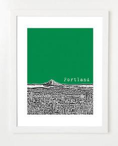Portland Art Print  - Portland City Skyline - Portland Oregon - Mt. Hood View - VERSION 3