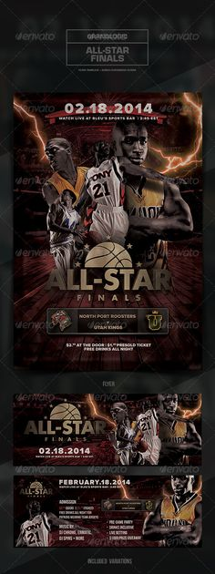 "Basketball Championship Flyer/Poster  #GraphicRiver            Detail   	    Basketball Championship Flyer/Poster  	  ""2013/2014 All-Star Basketball Finals""  – This flyer/poster was designed for a basketball-themed event. Both the 4.25×6.25 vertical  11.25×4.25 horizontal variations are included. New and unique versions of the template can be achieved by adding and altering text, font style and layout, colors, as well as the addition  removal of objects and layers .  	 All elements shown…"