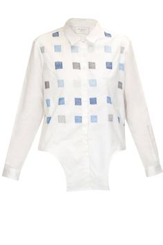 White thread embroidered tie-up shirt  by Reboot Shop now:http://www.perniaspopupshop.com/designers/reboot #shopnow #reboot #perniaspopupshop
