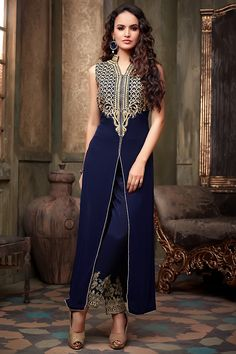 Navy Blue Long Jacket Style Suit with Embellished Pants, from Bazzzar.com