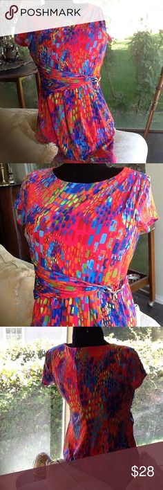 Multi-color bright  new!! W/gold embellishment! Bright w/ gorgeous colors and an oh-so flattering little gold embellishment at waist! Will make you smile .... And others will smile at you! For you attention grabbing divas!  Xoxo Ellen Tracy Dresses Midi
