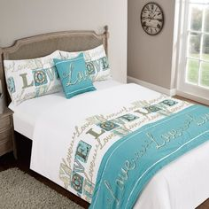 Designed by DEBORAH WILLMINGTON DESIGNS - Love You Teal Double Duvet Quilt Set Bed in a Bag Cushion Cover Runner Fitted Sheet