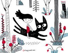 Elise Gravel • Little girl • Cat • forest • illustration • kid • child • cute • whimsical • flowers •