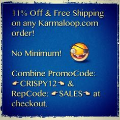 Karmaloop: 11% Off & Free Shipping on any #Karmaloop .con order. NO MINIMUM REQUIRED . Combine RepCode: SALES & PromoCode: CRISPY12 at checkout page. For more Karmaloop discount codes, visit http://www.Karmaloop-Codes.com #karmaloop #freeshipping #discounts #coupon #nominimum