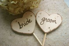 Wood Cake Toppers Rustic Wedding Bride Groom on Hearts Woodland Chic. $16.99, via Etsy.