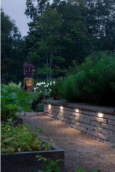 This retaining wall is accented with Hinkley's Hardscape lighting, helping illuminate the path. Backyard Retaining Walls, Backyard Patio, Backyard Landscaping, Retaining Wall Lights, Landscaping Ideas, Stone Retaining Wall, Garden Wall Lights, Path Lights, Lighting For Garden Walls