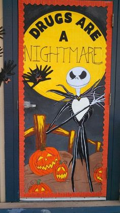 Nightmare before Christmas red ribbon week classroom door decoration. By Desiree'  :):