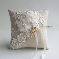 Ring bearer pillow 6 wedding ring linen pillow with embroidered floral lace-ring bearer ring cushion ready to ship Wedding Ring Cushion, Wedding Pillows, Cushion Ring, Wedding Burlap, Cushion Pillow, Ring Bearer Pillows, Ring Pillows, Burlap Pillows, Wedding Ring Styles
