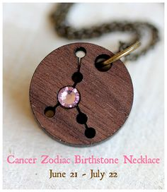 Cancer Zodiac Birthstone Necklace from Tiny Whale Studio on Etsy.