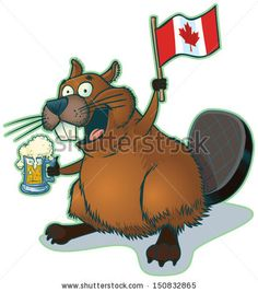 #vector #cartoon #beaver with a mug of #beer and a #Canadian #flag, #eh? #madewithwacom #cintiq