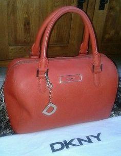 DKNY Handbag Leather Orange Designer Bowling Bag